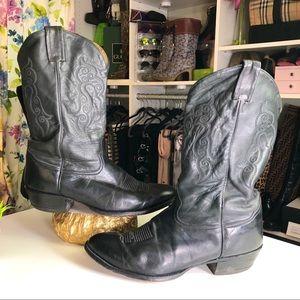 Tony Lama Men's Black Leather Cowboy Boots